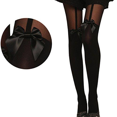 Sannysis Vintage Tights Bow Pantyhose Sheer Stockings
