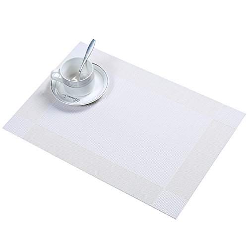 6 PCS Washable Waterproof Heat Insulation PVC Dining Room Placemats, Classic Woven Vinyl Table Mats Heat-resistant Non-Slip Insulation Table Runner For Kitchen Dining Table Decoration (White 6 Pcs) (Classic Table Dining White)