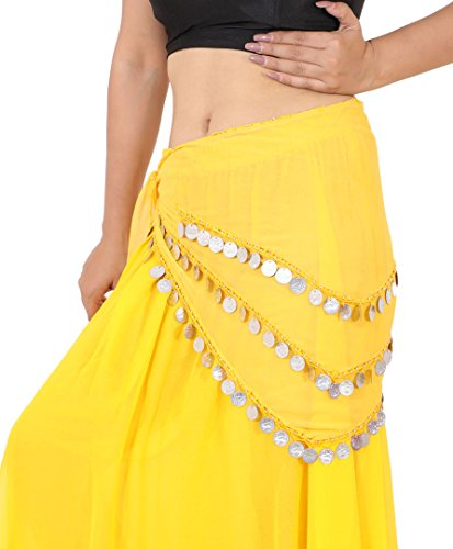(Wevez 3 Rows Belly Dance Costume Silver Coin Hip Scarf/Belly Dance Belt (Gold))
