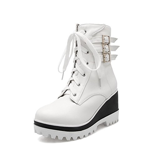 Women's Toe White Closed Heels up Allhqfashion PU Round Solid Lace Kitten Boots dgzHWBqw