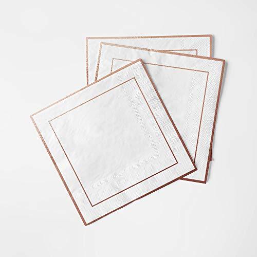 JAesthetics Premium 100 Pack Rose Gold Disposable Cocktail Napkins, For Desserts, Weddings, Baby Shower, Birthday…