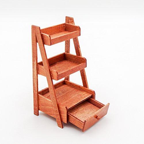 Odoria 1:12 Miniature 3-Tire Wood Ladder Shelf Storage with Drawer Dollhouse Furniture Accessories