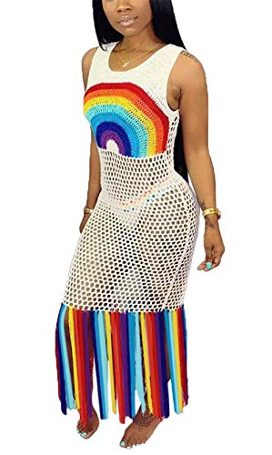 (Womens Summer Sexy Plus Size Knitted Sleeveless Rainbow Color See Through Tassels Party Club Beach Cover Up Dress Hollow Out Overall White XXXL)