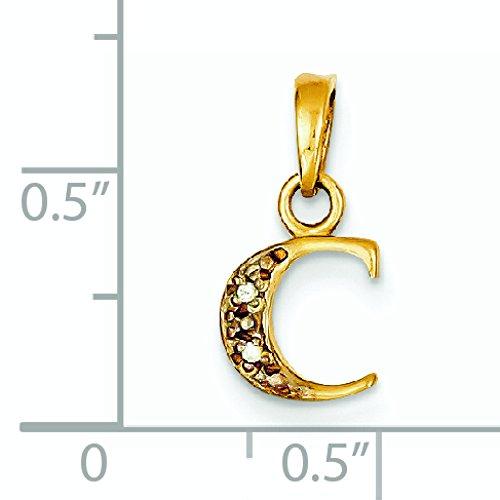 .01ct brut poli 14 carats Diamant Pendentif initiale C JewelryWeb