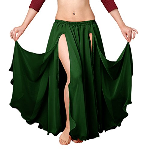 (Indian Trendy Chiffon Double Layer 2 Font Slit Skirt Belly Dance Tribal Panel Jupe Rock (One Size, Dark Green))