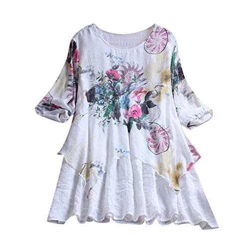 Aniywn Ruffle Floral Printed Pullover Tops, Women Plus Size Casual Round Neck Half Sleeve T-Shirt Blouse White ()