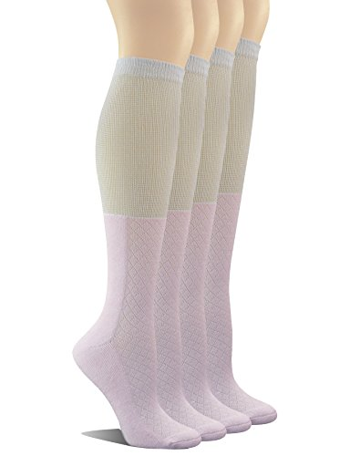 Yomandamor Women's 4 Pairs Bamboo Non-binding Knee-Hi Boot Socks with Seamless Toe (Boots Wide Calf High Knee Extra)