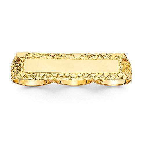 Solid 14k Yellow Gold Three Finger Nugget Ring Mens Hip Hop Style Band Heavy Large 15MM Size 10.5 by ZenJewels