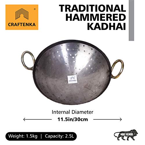 Craftenka Traditional Pure Iron Kadai Hand Hammered (11.5 in/ 30 cm) Deep Bottom Fry Pan/Frying Kadhai for Cooking Handmade Loha Lokhand with Golden Handle 11.5 in / 30 cm Price & Reviews