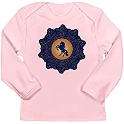 Truly Teague Long Sleeve Infant T-Shirt Horse On Dark Blue Field - Petal Pink, 12 To 18 Months