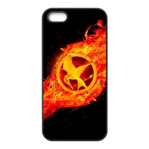 Hunger Games 001 3 coque iPhone 5 5S cellulaire cas coque de téléphone cas téléphone cellulaire noir couvercle EOKXLLNCD24496