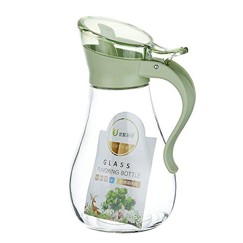- IMPR3·TREE Oil and Vinegar Glass Cruet Bottle Container Olive Oil Dispenser Clear Condiment Pots Seasoning Spice Storage Jar BPA-FREE, Chef, Professional,12 oz, Green