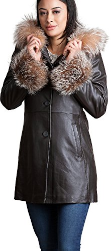 Overland Sheepskin Co Monroe Hooded Lambskin Leather Coat With Silver Fox Fur Trim