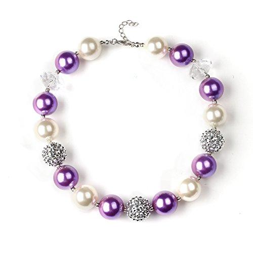Bouren Baby Purple Chunky Bubblegum Bead Necklace for Girls (Bubble Gum Baby)