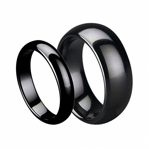 Men & Ladies 7MM/5MM Black Ceramic High Polish Domed Wedding Band Ring Wedding Band Ring Set (Available Sizes 5-10 Including Half Sizes) Please e-mail sizes , Ladies Size 6.5 - Mens Size 9