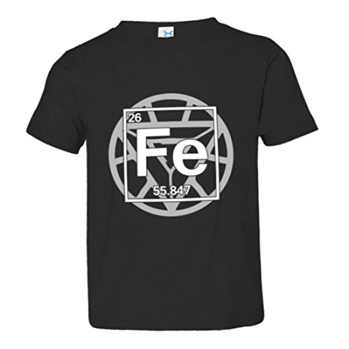 Toddler Iron Man Tony Stark Periodic Table Arc Reactor Soft-Style High Quality Tee – Black (4)