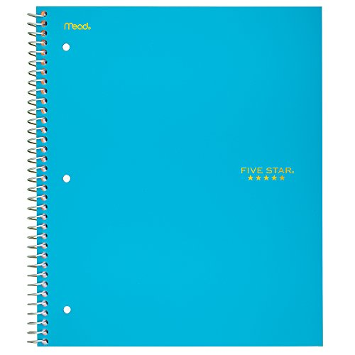 Five Star Spiral Notebook, 3 Subject, College Ruled Paper, 150 Sheets, 11'' x 8-1/2'', Color Selected For You (06050) by Five Star