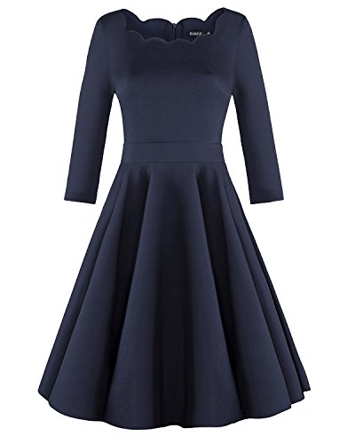 OUGES Womens 1950s Scalloped Neck Vintage Cocktail Dress,Navy,Large