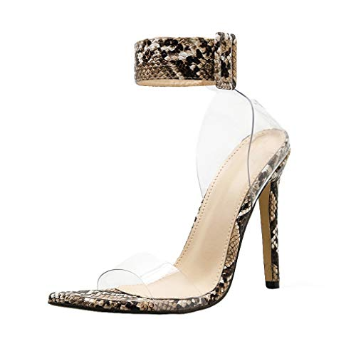 LIM&Shop Women's Clear Strappy Block Chunky High Heel Open Peep Toe Sandal Leopard Print Wedge Shoes Ankle Boots Beige