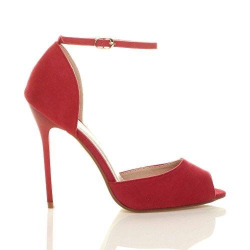 Toe Femmes Peep Pointure Boucle Talon Sandales Rouge De Aiguille Daim Chaussures Cheville Haut Sangle Escarpins rgrwavqz