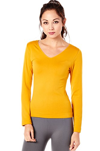 Womens Basic Solid Thermo Casual Long Sleeves Top V-02 (One Size, Mustard)