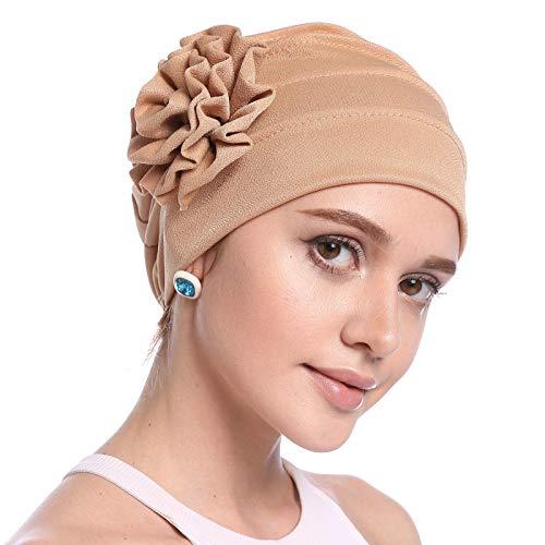 DJB Women's Elegant Strench Flower Turban Headband Scarf Beanie Cap Hat for Cancer Patient Camel