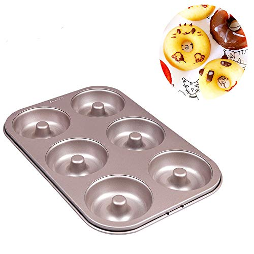 Donut Pans 6 Cavity for Baking Mini Donuts Pan Mold Nonstick Toaster Oven Safe Heavy Carbon Steel Champagne Gold -