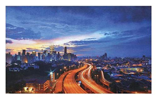 Lunarable Landscape Doormat, Asia Scenery Kuala Lumpur Cityscape Image Skyscrapers Highways Artwork Photo, Decorative Polyester Floor Mat with Non-Skid Backing, 30 W X 18 L inches, Multicolor