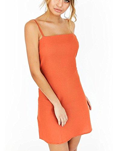 (Simplee Womnen's Summer Casual Hollow Out Plain Strap Bodycon Mini Dress Orange 8/10 Orange)