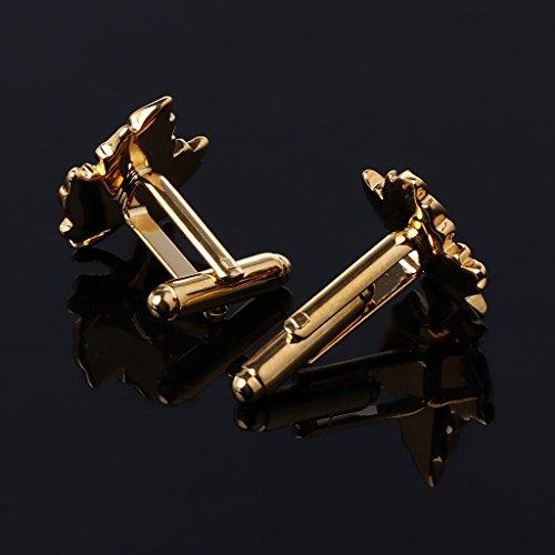 Dabixx 1 par Gemelos para Hombre, Chapado en Oro Hoja de Arce Mancuerna Moda Hombre Joyería Camisa Gemelos de Boda: Amazon.es: Hogar