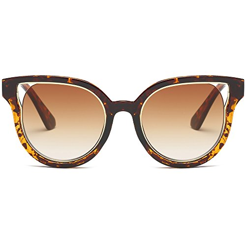 SojoS Kids Cut Out Cat Eye Flash Mirrored Sunglasses for Boys and Girls SK301 With Demi Frame/Brown Gradient - Sunglasses Flash Coating
