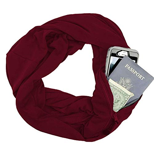 Tulas Portable Women Scarf with Pocket Infinity Scarf All Match Travel Journey Scarves (Wine Red)