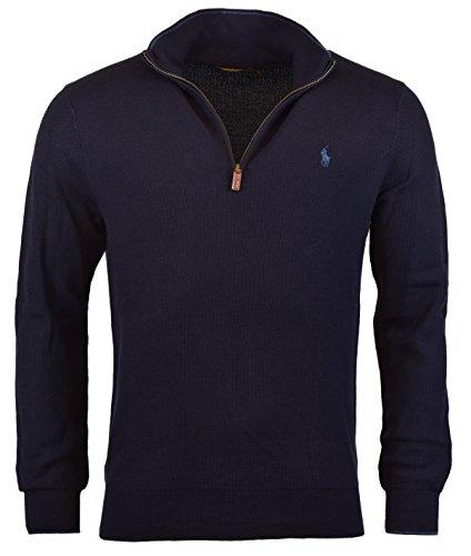 Polo Ralph Lauren Mens Ribbed Trim Mock Neck 1/2 Zip Sweater Navy S