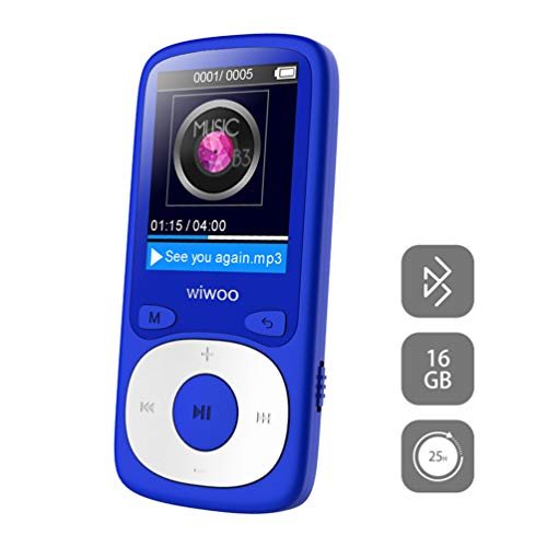 MP3 Player with Bluetooth, 16GB Portable Audio Music Player with FM Radio Voice Recorder Headphones, Sports MP3 Player Support Up to 128GB