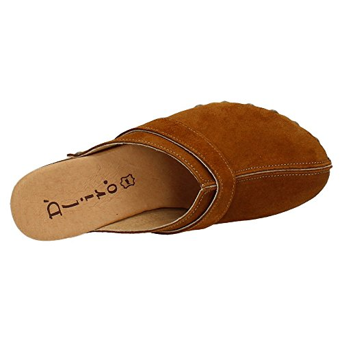Dliro 4001 Sandalias de Piel Mujer Sandalias Tacón Camel