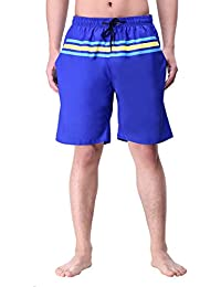 Men Stripe Casual Active Quick Dry Shorts Stripe Swim Trunks With Mesh Lining Adjustable Pull Cord Boardshorts