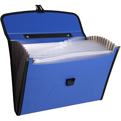DeLi 13 Pockets Expanding Accordion File Folder And a built-in zipper,Flexible and Comfortable Handle and Subject Labels,Enhanced Thickness and Hardness,with Buckle Closure,A4 Size.(blue) by Deli