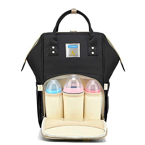 Soonnix Diaper Bag Backpack,Multi-Function Waterproof Travel Backpack Doll Diaper Bag Nappy Changing Bags for Baby Care Large Capacity Travel Backpack Nappy Bags, Stylish and Durable (Black)
