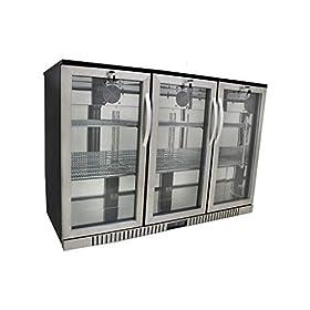 54″ Wide 3-door Stainless Steel Back Bar Beverage Cooler, Counter Height