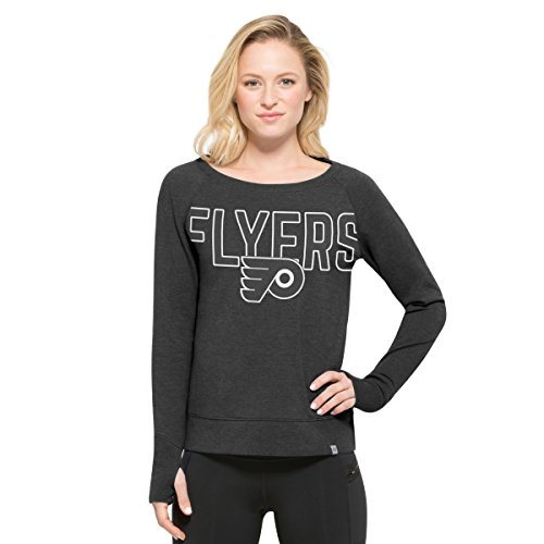 NHL Philadelphia Flyers Women's '47 React Raglan Long Sleeve Tee, Large, (Philadelphia Flyers Womens Socks)