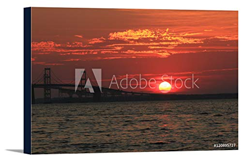 Chesapeake Bay Bridge at Sunset in Annapolis, Maryland Photography A-90962 (36x24 Gallery Wrapped Stretched Canvas)