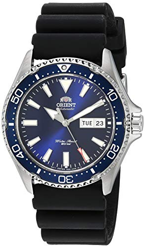 Orient Men's Kamasu Stainless Steel Japanese Automatic Diving Watch with Silicone Strap, Silver, 22 (Model: RA-AA0006L19A) ()