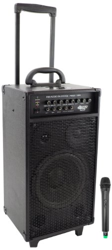 Pyle PWMA1080i Wireless Portable PA Speaker System, Built-in Rechargeable Battery, 30-Pin iPod Dock, Wireless Microphone - Peak Pa Speaker