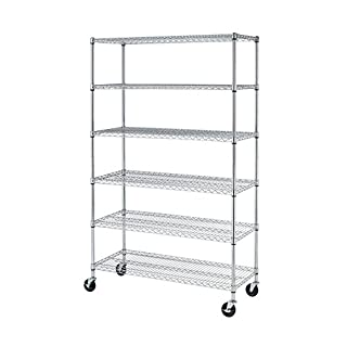 PayLessHere Chrome 6 Shelf Commercial Adjustable Steel Shelving Systems On Wheels Wire Shelves Unit