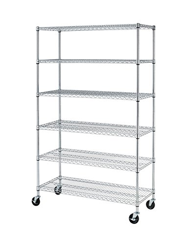 72  H  X 48  L  X 18  D  Chrome Commercial 6 Layer Shelf Adjustable Steel Wire Metal Shelving Rack