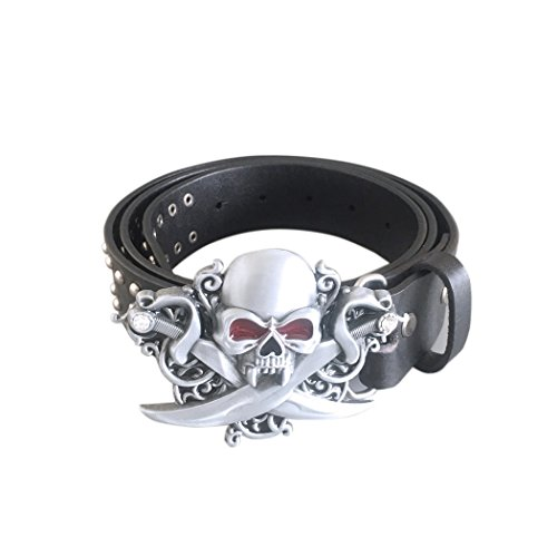 New-Gothic-Skull-Belt-Buckle-With-Black-Studded-Genuine-Leather-Belt-L-45-inches-115-cm