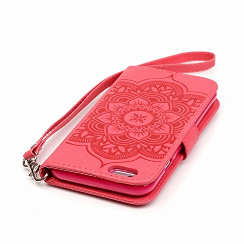 Yiizy Apple iPhone 6 / iPhone 6s Hülle, Campanula Prägung Entwurf PU Ledertasche Klappe Beutel Tasche Leder Haut Schale Skin Schutzhülle Cover Case Stehen Kartenhalter Stil Bumper Schutz (Rot)