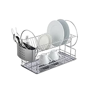 Magic Chef 2-tier Chrome Dish Rack, Stainless steel