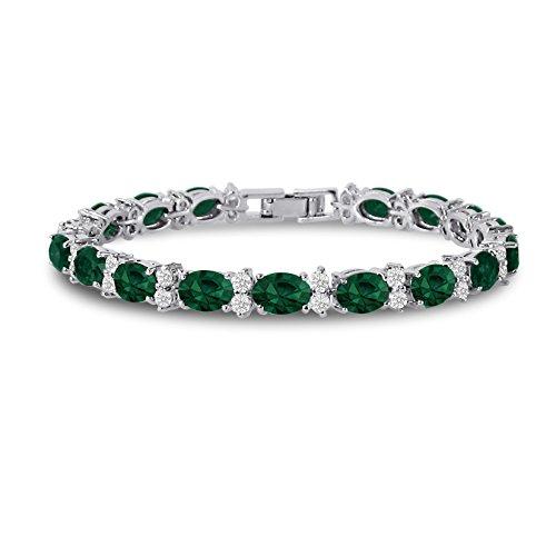 (Kezef Cubic Zirconia Tennis Bracelet CZ Round Cut Simulated Emerald Green Oval Cut Silver Plated Brass 7 inch)