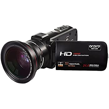 ORDRO 1080P Camcorder HD Video Camera with Wifi Wide Angle Lens Microphone Input Jack HDMI Remote Control
